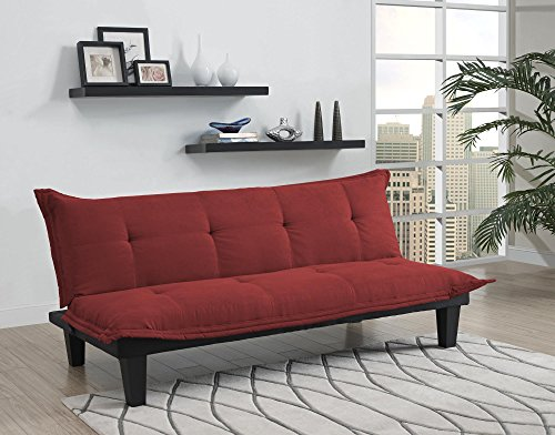 DHP Lodge Convertible Futon Couch Bed with Microfiber Upholstery and Wood Legs