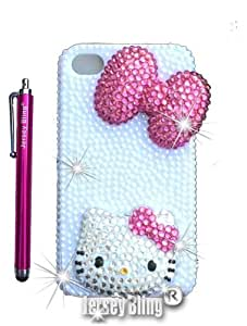 Jersey Bling? Handmade Crystal Kitty BLING Iphone 4, 4s, 5, or 5s case w/3D Bow (Pink Bow 5/5s)