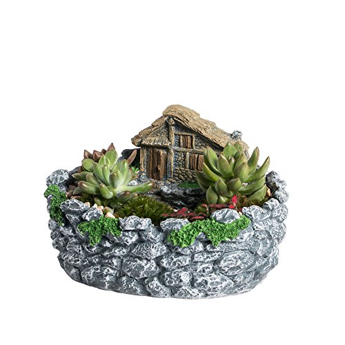 NCYP Creative Fairy Garden Succulent Flower Pot, Modern Miniature Log Cottage Rock Fence Balcony Display Flowerpot,Window Sill Cottage Sculpture Sweet House Planter Grey for Decoration No Plants