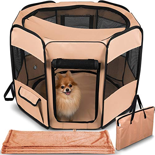 Dog Playpen with Blanket - Portable Soft Sided Mesh Indoor & Outdoor Exercise Play Pen for Pets - Beige