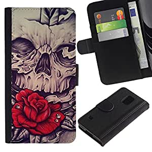 A-type (Rose Red Skull Vignette Espada Roca) Colorida Impresión Funda Cuero Monedero Caja Bolsa Cubierta Caja Piel Card Slots Para Samsung Galaxy S5 V SM-G900