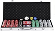 """Smartxchoices 48"""" Folding Poker Table Top, 500 Clay Poker Chips Set   Octagon 8 Player Table Top with Cup"""