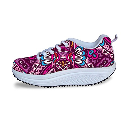 HUGS IDEA Multicolor Fashion Womens Mesh Comfort Sneakers Pink JG05H