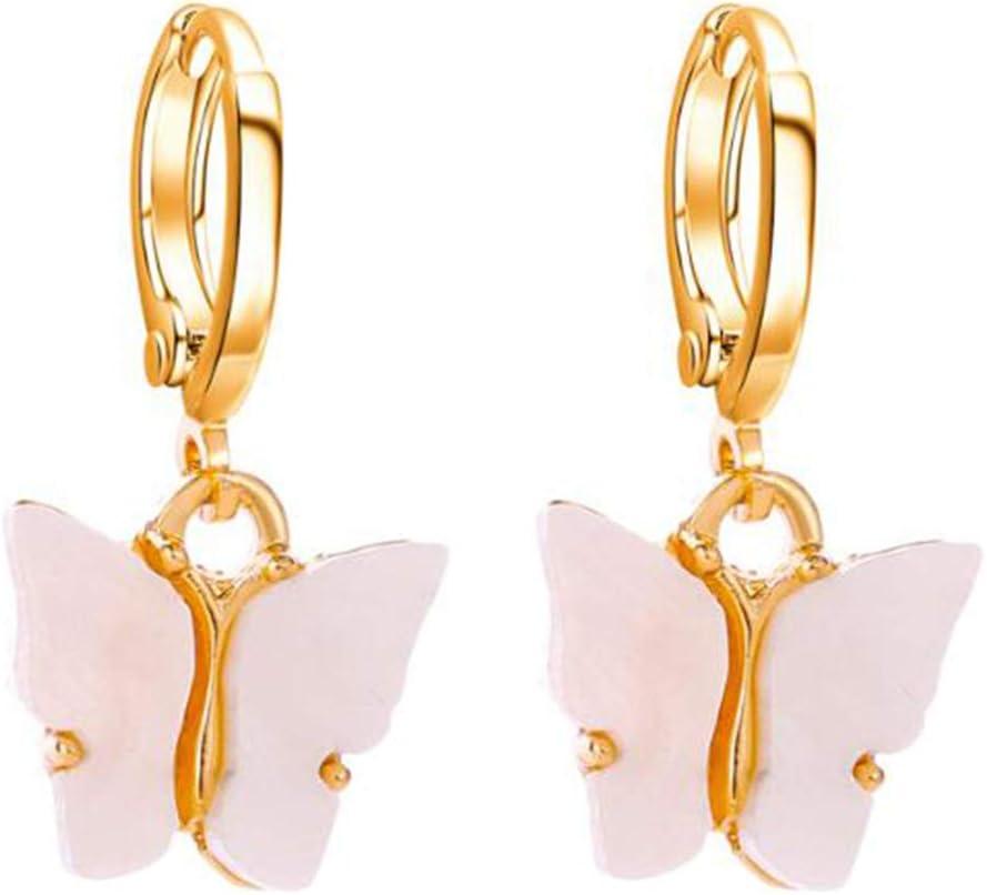 N//A Papillon Pendentif Boucles doreilles en Acrylique color/é /él/égant /él/égant Boucle doreille Stud Femmes et Filles Bijoux Cadeau danniversaire,Rose