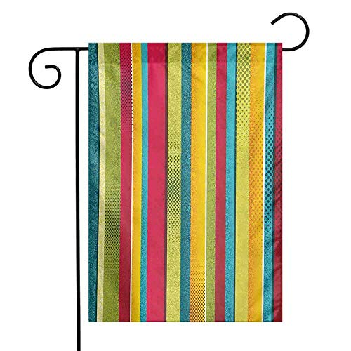 seedine Season Flags Porch Patio Vintage Rainbow Ragged Aged Vertical Stripes with Retro Halftone Effects Dirty Grained Look 12.5 x 18 Inch Multicolor