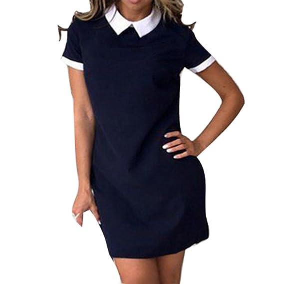 Mujeres Rodilla-Longitud Camisa Vestir Corto Manga Blusa Vestir - Elegante Rechazar Collar Vestido de