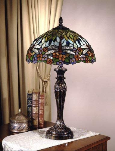 Dale Tiffany TT100588 Tiffany/Mica Two Light Table Lamp from Dragonfly Collection