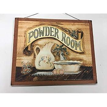 Amazon.com: Powder Room Wooden Bathroom Wall Art Sign Bath ...