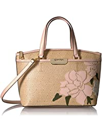 Lola Straw Embroidered Floral Top Zip Satchel