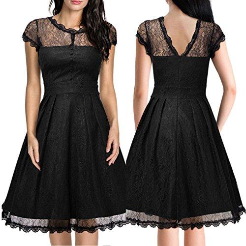 WINWINTOM Moda Mujer Encaje Vestido De Manga Corta Con Encanto Vestido Linda De CóCtel Sin Respaldo Slim Plus Mini Vestido Negro