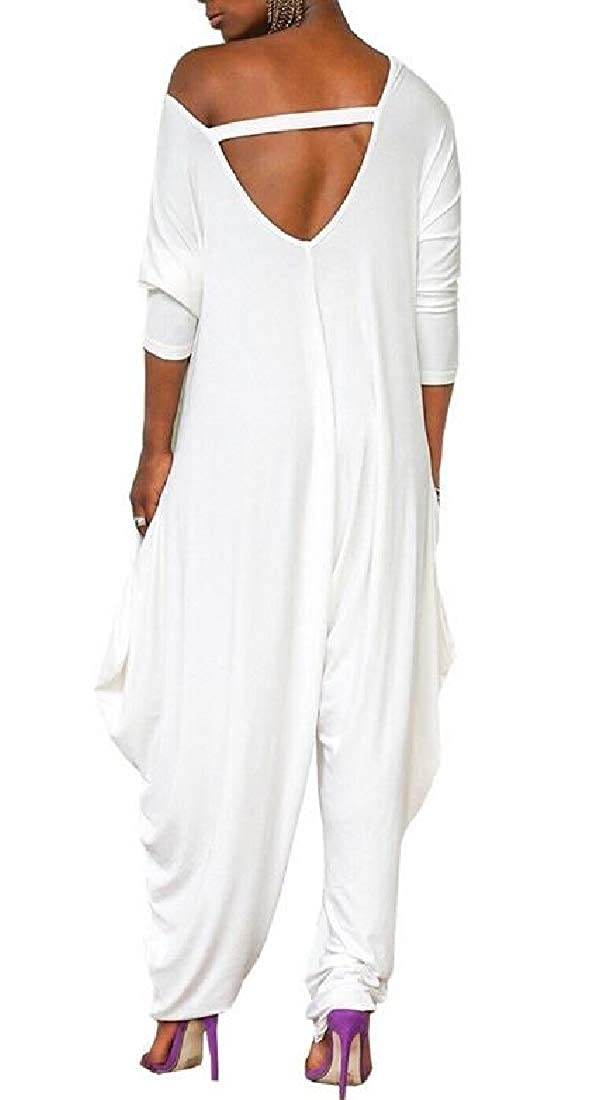 Fubotevic Women Solid Color Plus Size Loose Fit Casual Backless Baggy-Pants Long Sleeve Jumpsuit Romper