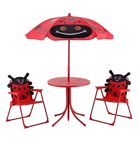 MD Group Kids Patio Furniture Set Foldable Table and Chairs Beetle Shape Design with Umbrella