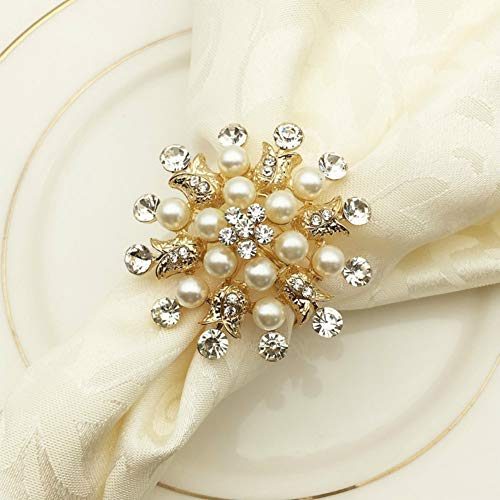 SCTD Napkin Rings Set of 6 - Round Flower Pearls Rhinestone Napkin Buckles Holder for Wedding Party Home Kitchen Dining Table Linen Accessories (Golden New) (Napkins Ring Pearl)