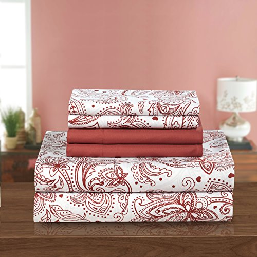 Paisley Chic (Chic Home 6 Piece Welford Sheet Set, Queen, Brick)