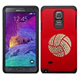Samsung Galaxy Note 4 Android Cell Phone Protective Dual Cover Shock-absorbent Silicone Hard Durable with Bling Volleyball & Water Polo Swarovski Crystal Rhinestone Bling Design (Red Cover)