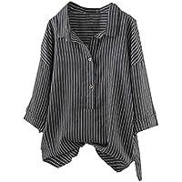 Zainafacai Women Casual Blouse Striped Button up T-Shirt Tunic Tops Plus Size