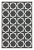 Green Decore Lightweight Outdoor Reversible Plastic Serene Rug (5 x 8, Charcoal Grey/White)