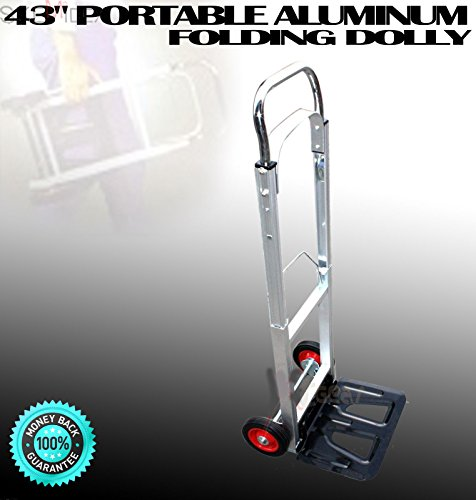 SKEMiDEX---200LBS PORTABLE ALUMINUM 43'' FOLDING DOLLY MOVING HAND CART TRUCKS HOLDS. Easily Folds Compact for storage. Light Weight for Travel, Office, Out Door, Home, and Shopping only by SKEMiDEX