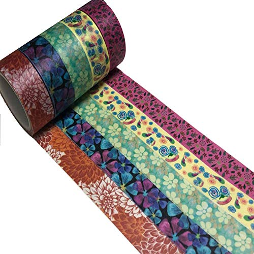 Meiosuns Washi Tape Set Adhesive Washi Masking Tape Multi-Pattern Paper Tape Decoration, Scrapbooking and Bullet Journaling Sticker for DIY, Gifts, Arts, Crafts (Flowers & Feathers, Pack of 5) ()