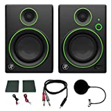 Mackie CR4BT CR Series Channel Studio Monitor (Pair) w/ Pro DJ Bundle Includes, 3-feet 1/8'' TRS Male to Two 1/4'' TS Male Cable & Universal Pop Filter Microphone Wind Screen w/ Mic Stand Clip