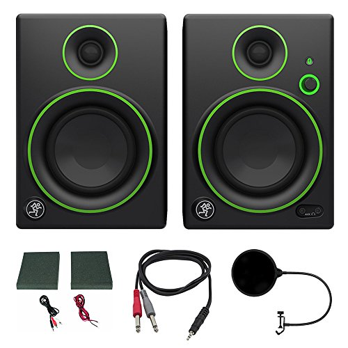 Mackie CR4BT CR Series Channel Studio Monitor (Pair) w/ Pro DJ Bundle Includes, 3-feet 1/8'' TRS Male to Two 1/4'' TS Male Cable & Universal Pop Filter Microphone Wind Screen w/ Mic Stand Clip by Mackie