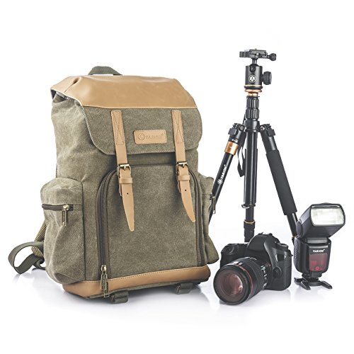 TARION M-02 Water-Repellent Canvas Backpack Photography Bag Camera Gadget Bag for Digital Cameras & Accessories with Anti-Shock Storage Colour Green by TARION