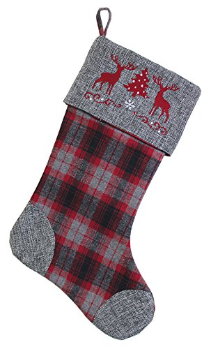 Boston International Christmas Flannel Stocking, Deer On Cuff ()