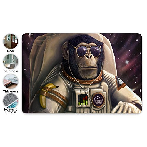 6969MAT Gorilla Spaceman Orangutan Entrance Door Mat Square Doormat 3D Printed Toilet Floor Mats Bath Rugs Anti-Skid Flannel Carpet Outdoor Footcloth ()