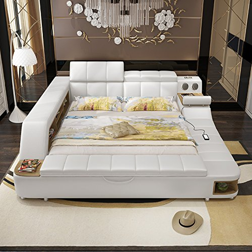 0411tb023 Modern Soft Bed Tatami Bedroom King Queen Double Size Multi Functional Soft Music Massage Bed Real Leather Art Bed Amazon In Home Kitchen