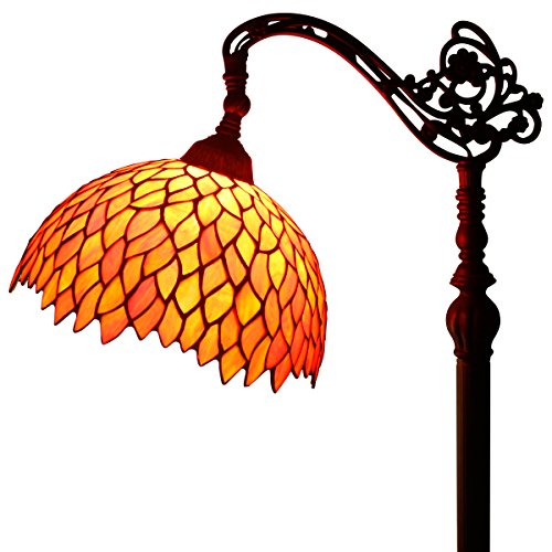 Red Wisteria Stained Glass Tiffany Style Reading Floor Lamp Wide 12 inch Height 64 inch for Living Room (Red Finish Floor Lamps)