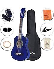 ADM Beginner Classical Guitar 30 Inch Steel Strings Blue Bundle Kit with Gig Bag, Tuner, Strings, Strap, and Picks