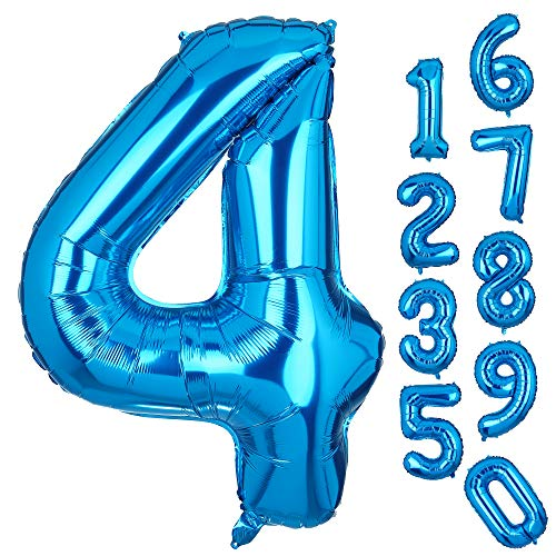 Big Number 4 Balloons Blue Mylar Foil Helium Balloons Giant Birthday Party Decorations for Anniversary 4th Birthday Party -
