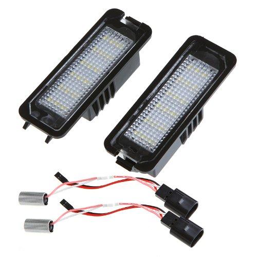 (Kingzer 2pcs WHITE 18x LED LICENSE PLATE LIGHT LAMP ERROR FREE FOR GOLF PASSAT CC)
