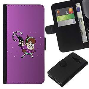 YiPhone /// Tirón de la caja Cartera de cuero con ranuras para tarjetas - Purple Ninja - Samsung Galaxy Core Prime