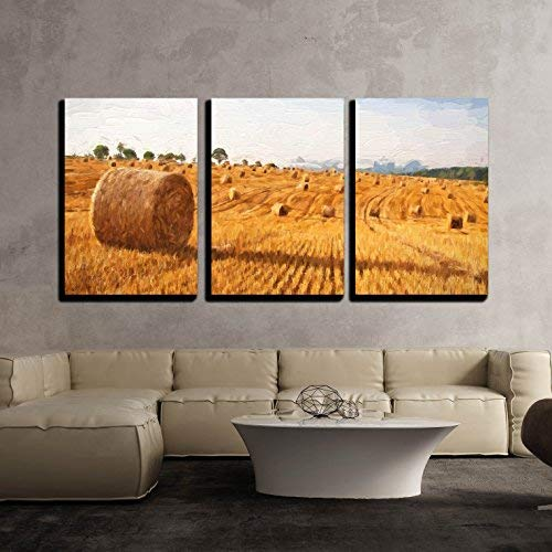 """wall26 - 3 Piece Canvas Wall Art - Oil Painting Summer Landscape - Hay Bales on The Field After Harvest - Modern Home Art Stretched and Framed Ready to Hang - 16""""x24""""x3 Panels"""