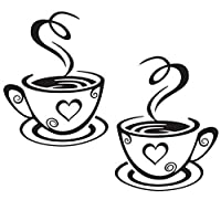 Da.Wa 2 Black Coffee Cups Wall Art Stickers Vinyl Coffee Sticker Decal Decoration for Kitchen Cafe Restaurant DIY