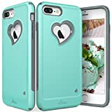 "iPhone 7 Plus Case, Vena [vLove][Heart-Shape | Dual Layer Protection] Hybrid Bumper Cover for Apple iPhone 7 Plus (5.5""-inch) (Teal/Gray) (Wireless Phone Accessory)"