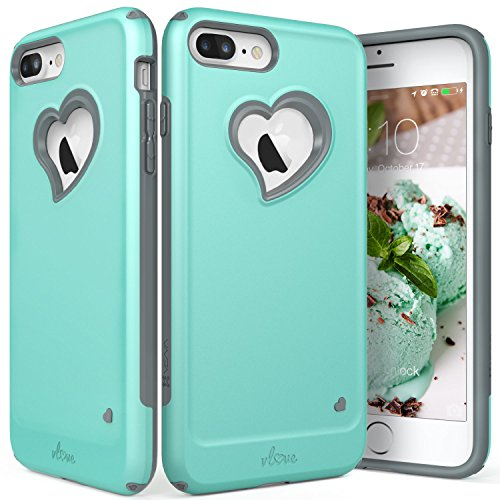Womens Plus Hearts (iPhone 8 Plus Case, iPhone 7 Plus Case, Vena [vLove][Heart-Shape | Dual Layer Protection] Hybrid Bumper Cover for Apple iPhone 8 Plus, iPhone 7 Plus (5.5