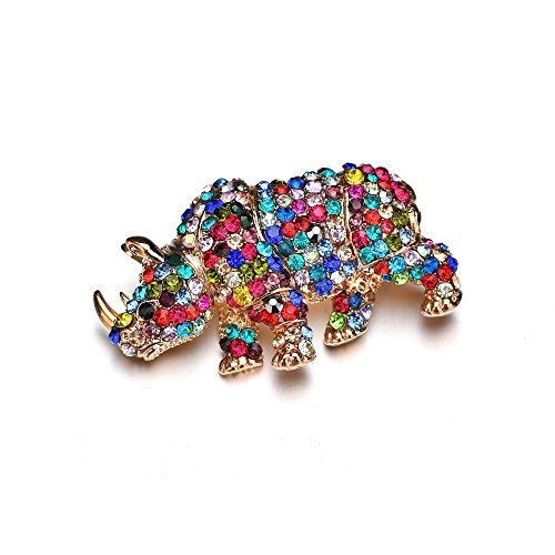 MIXIA Fashion Colorful Rhinestone Brooches pin for Women Vintage Full Crystal Rhinoceros Animal Brooch Pin Badge Jewelry