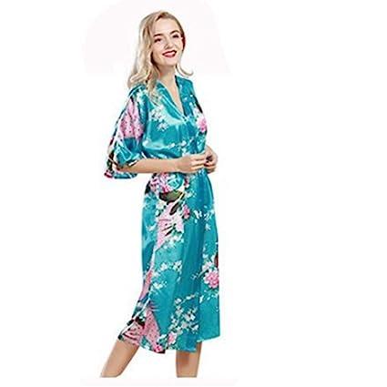 YSFU Albornoces Pijamas Albornoz para Mujer Batas para Mujer Batas Largas para Mujer Pijamas Flor Vestido