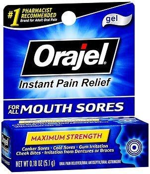 Orajel Mouth Sore Relief Gel, Maximum Strength - 0.18 oz, Pack of 2 ()