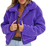 FTXJ Women Coat Womens Ladies Warm Artificial Wool Coat Zipper Jacket Winter Parka Outerwear