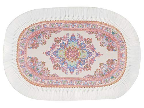 (Melody Jane Dollhouse Small Oval Turkish Carpet Miniature Beige Pink Woven Rug)