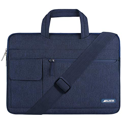 MOSISO Laptop Shoulder Bag Compatible 13-13.3 Inch MacBook Pro, MacBook Air, Notebook Computer, Protective Polyester Flapover Messenger Briefcase Handbag Sleeve Carrying Case Cover, Navy Blue