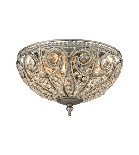 Flush Mounts 3 Light with Weathered Zinc Finish Clear Crysta Candelabra 13 inch 180 Watts - World of Lamp