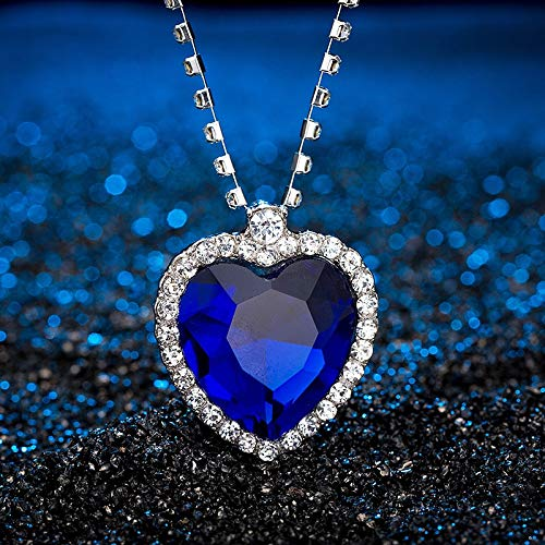 US Warehouse - Classic Blue Heart Crystal Pendant Necklaces Trendy Pendant Necklace Fashionable Women Link Chain Necklace Jewelry Gifts