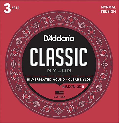 D'Addario EJ27N-3D Student Nylon Classical Guitar Strings, Normal Tension, 3 Sets Daddario Nylon Folk Strings
