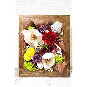 Preserved / Wall floral arrangement in a brown frame 27