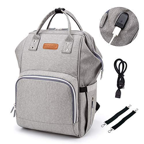 BOCCA Diaper Bag Backpack with USB Charging Port, Multi-Functional Waterproof Baby Back Pack, Large Capacity Bags and Insulation Designed Organizer for Mom Travel, Gray