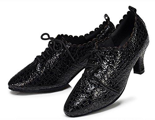 Tda Damesschoenen Halfhoog Veterschoenen Salsa Tango Ballroom Latin Dansschoenen Zwart